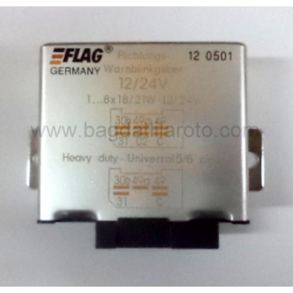 Elektronik flaşör 24V 6 uçlu (HELLA 4DZ 004 019-001) 12 0501 FLAG